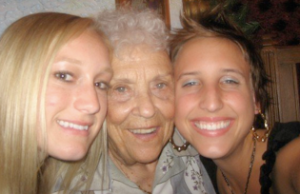 Granddaughter love at my 17th birthday, circa 2007.