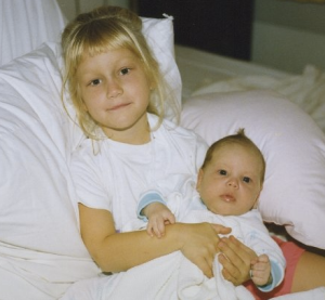 Baby faux hawk with my sister Jess, circa 1990.