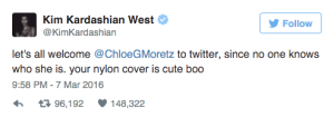 Chloe Grace Moretz is not on Kim's radar.